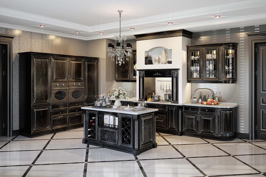 Чёрная состаренная кухня «Афина»