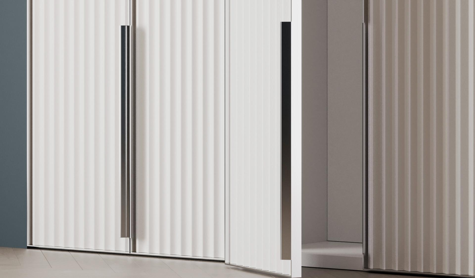 Шкаф «Berg» белый с рифлеными вертикальными фасадами