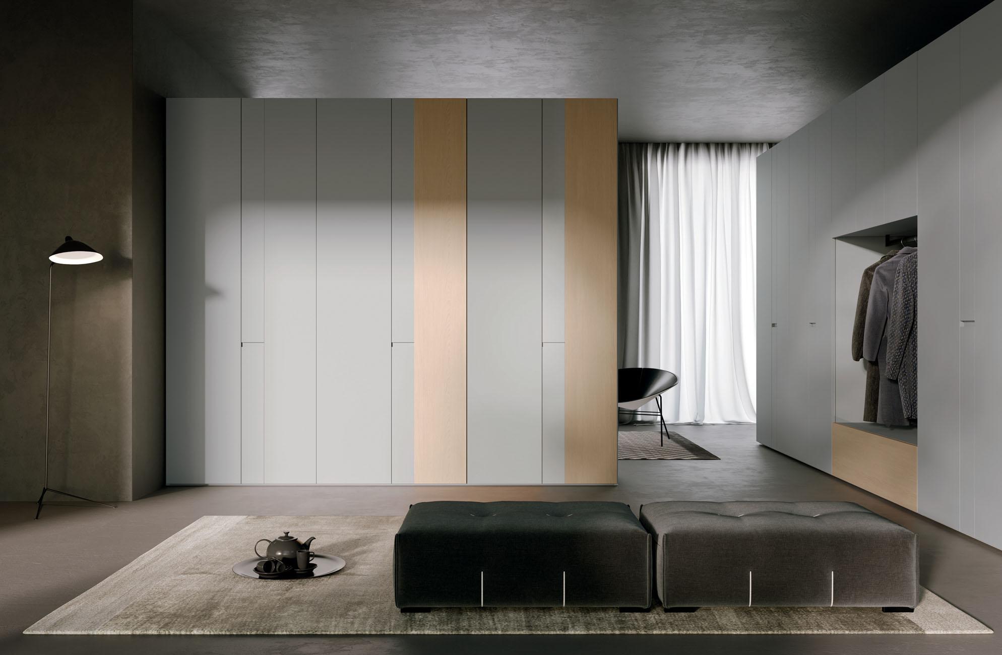 Лаконичный шкаф «Рейкьявик» серый матовый с интегрированными ручками