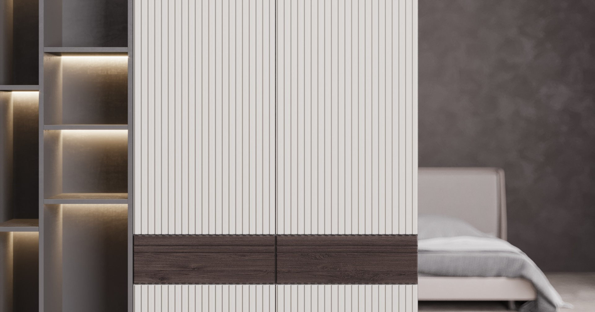 Шкаф «Soul» для минималистичных эко интерьеров гостиной или спальни