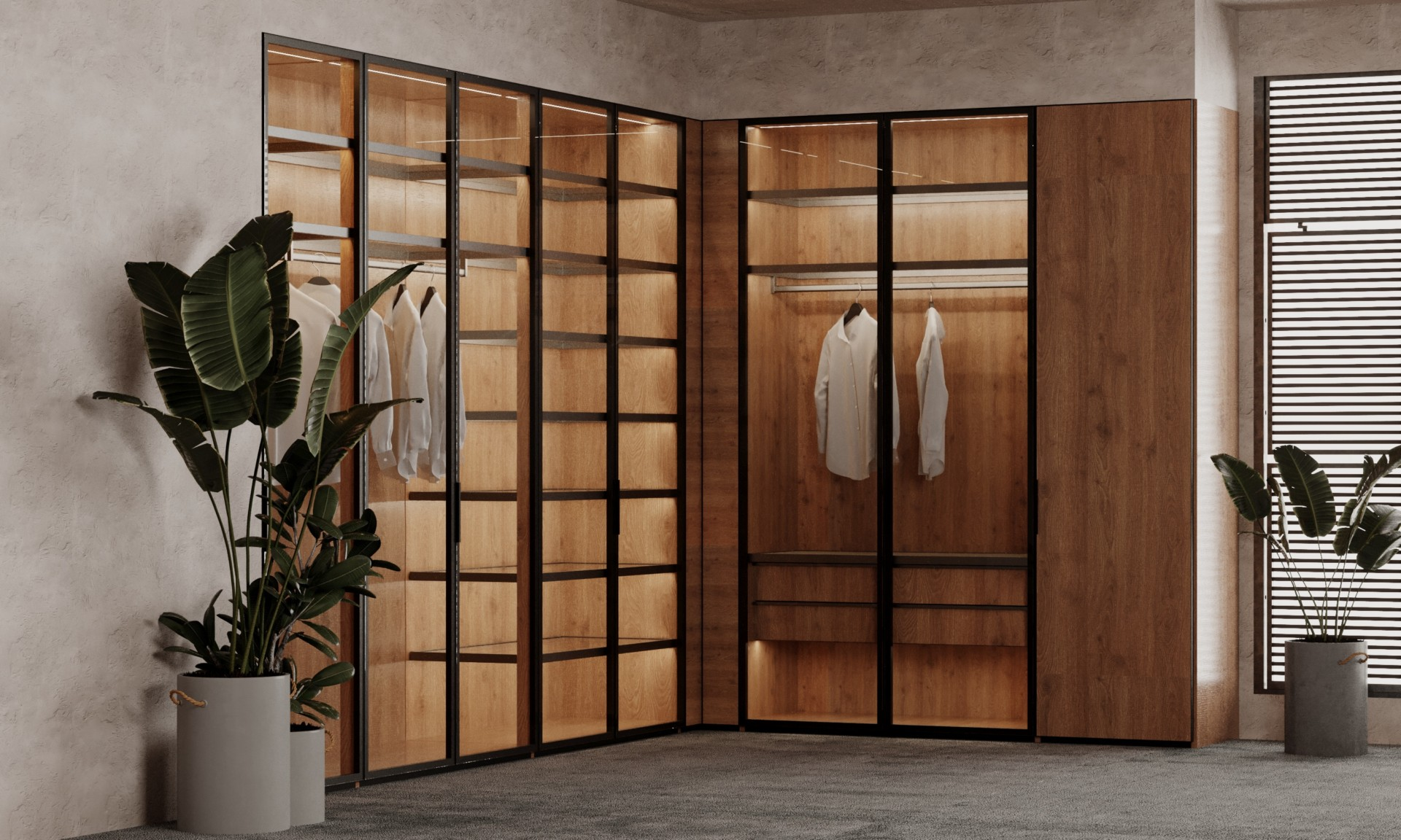 Стеклянная гардеробная система «Альфа»