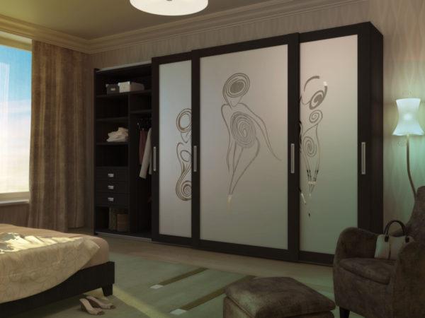 Шкаф «Афродита» с рисунком пескоструй