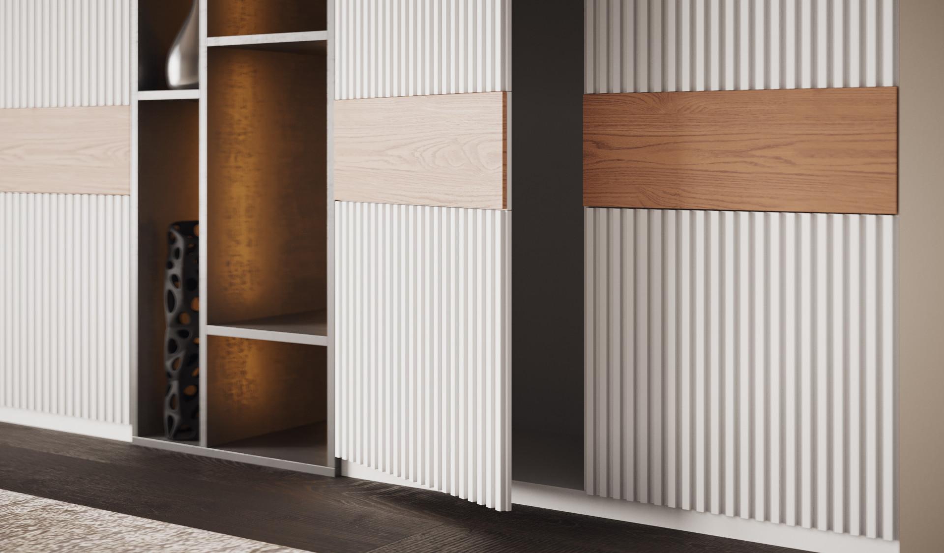 Шкаф «Авола» рифлёные белоснежные фасады и шпон дуба