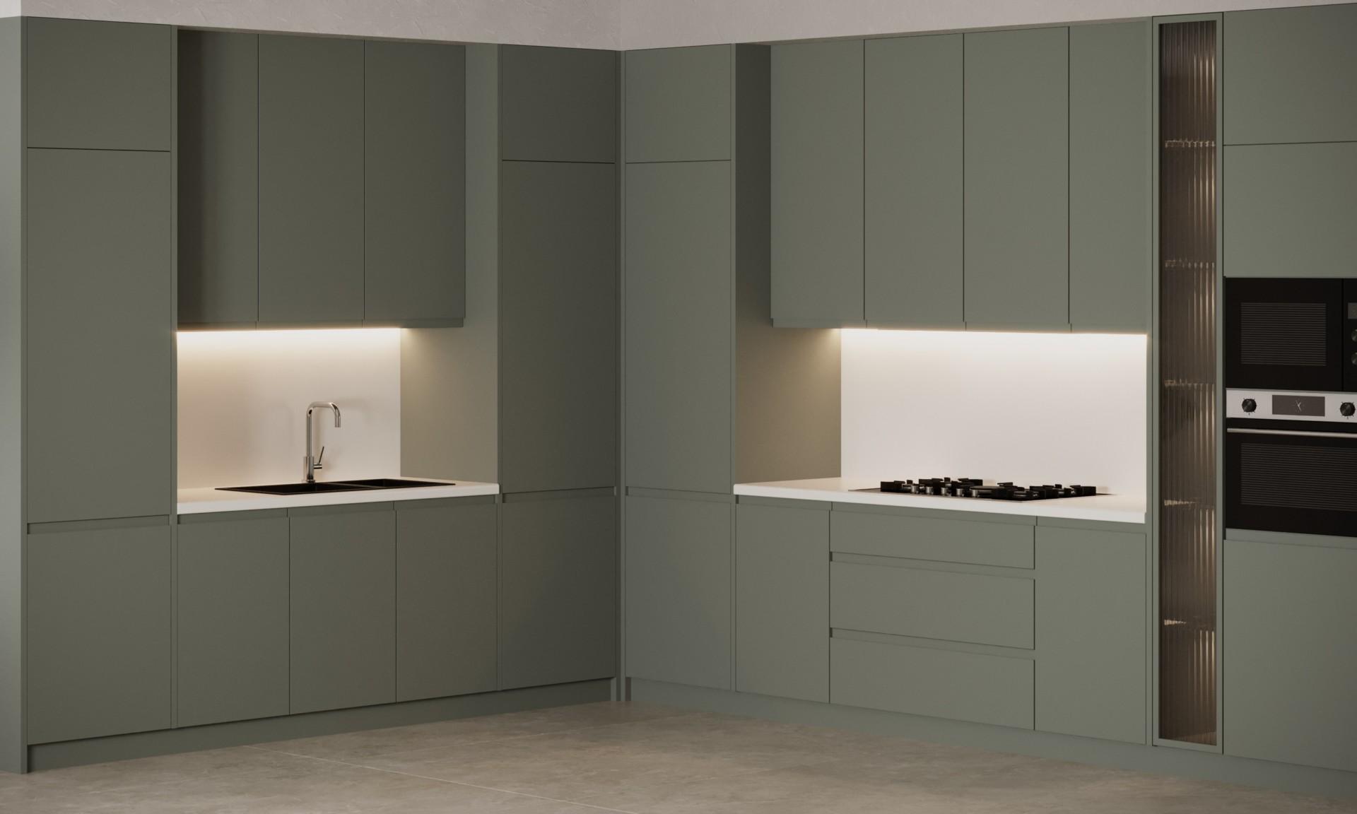 Кухня угловая «Шеки» с суперматовыми фасадами серого цвета