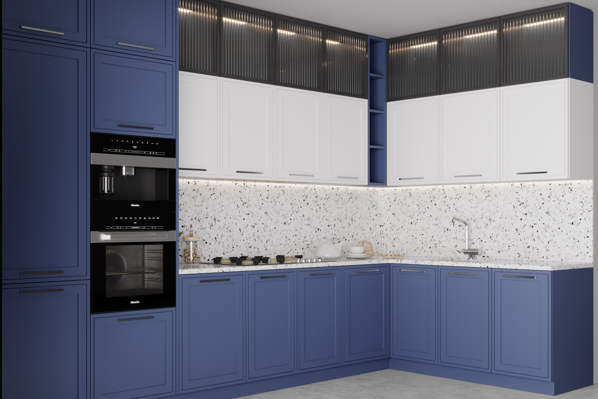 Кухня «Косма» сине белая в стиле эко минимализм