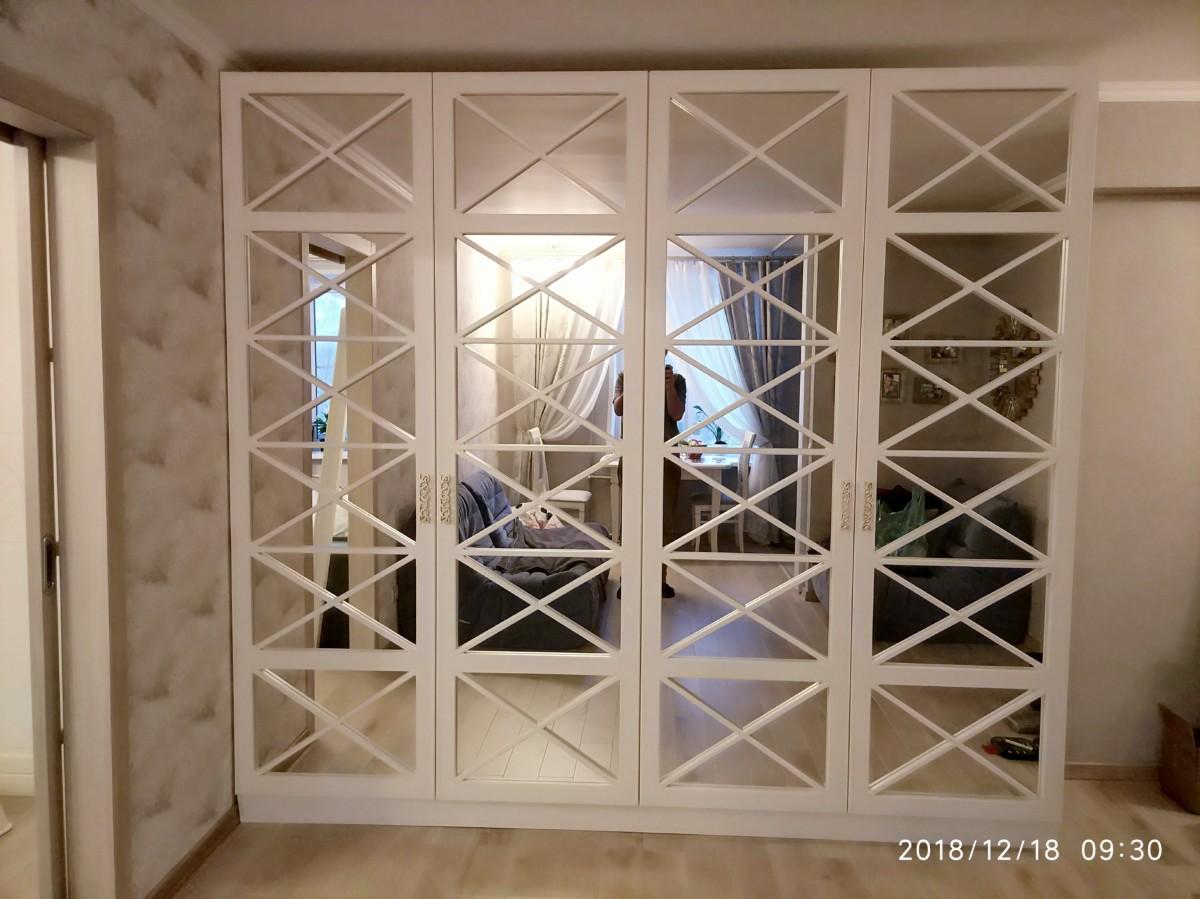 Шкаф «Аполон» — фасады зеркало с перекрестьями