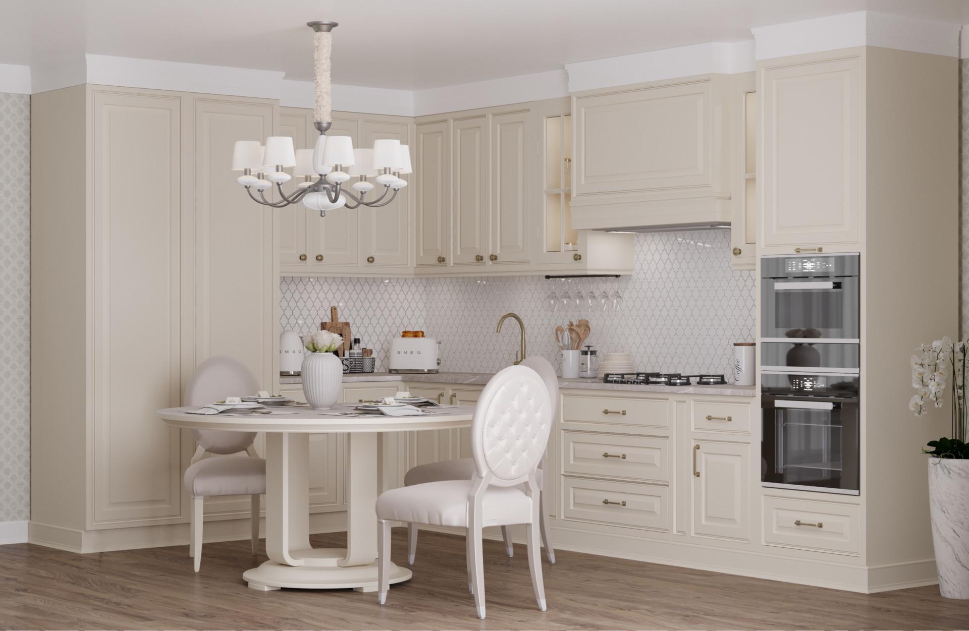 Кухня МДФ в эмали цвета слоновая кость «Марбл»