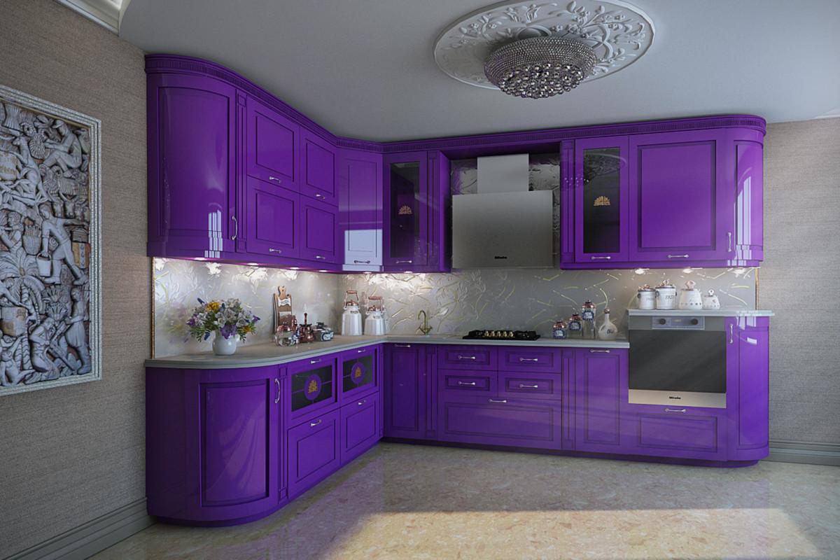 ведомства угловые кухни фиолетового цвета фото наше