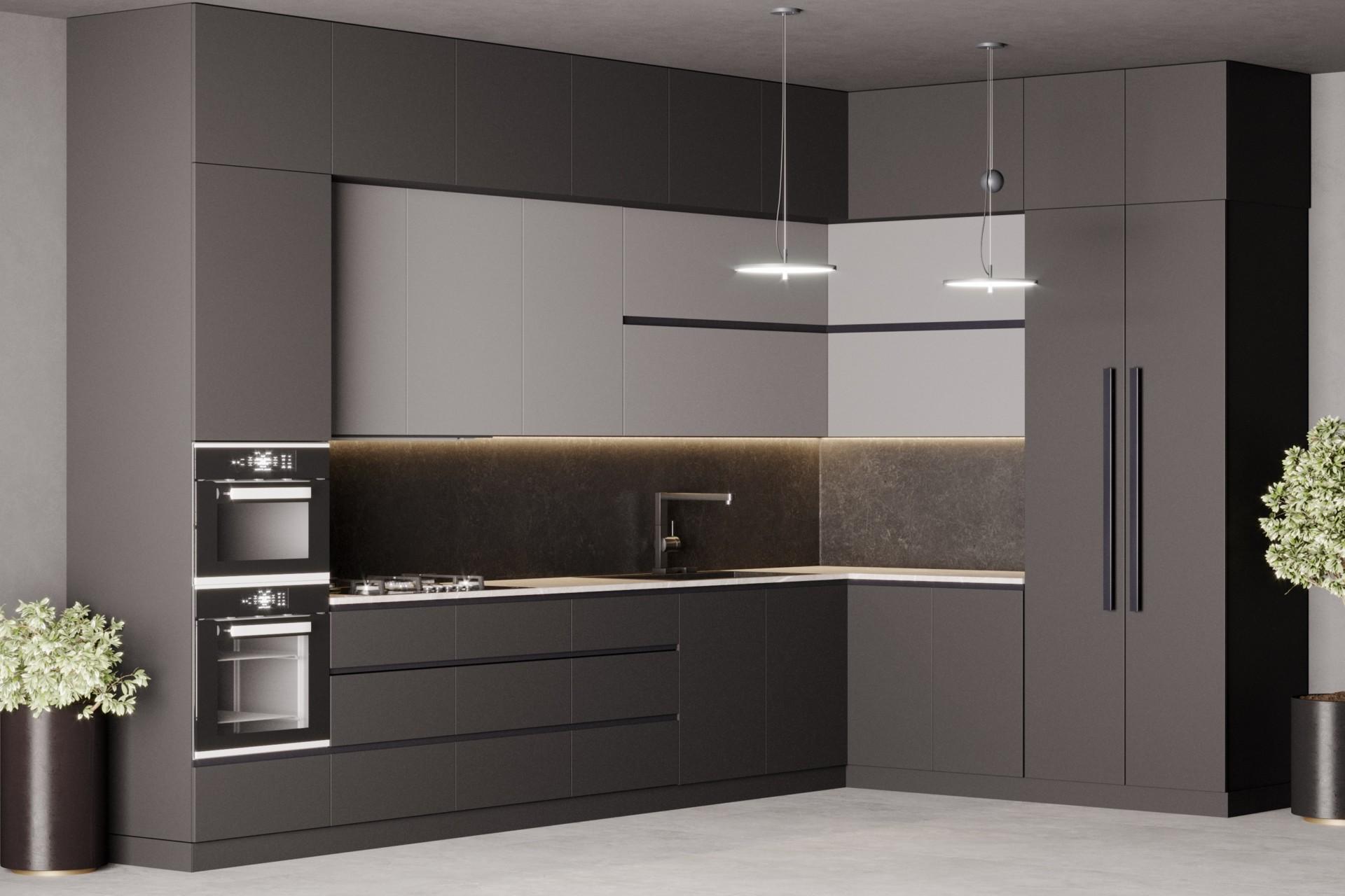 Кухня «Вулькано» матовая черно-серая без ручек
