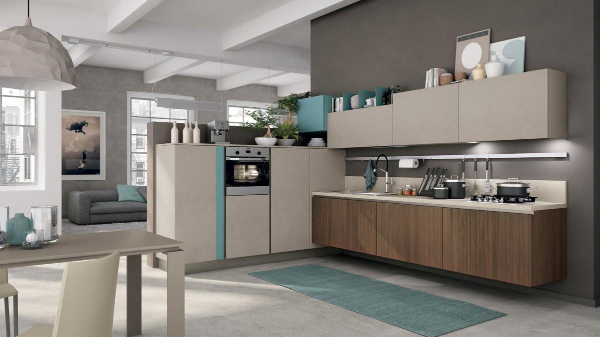 Кухня «Affect» без ручек, серая эмаль и древесные фасады