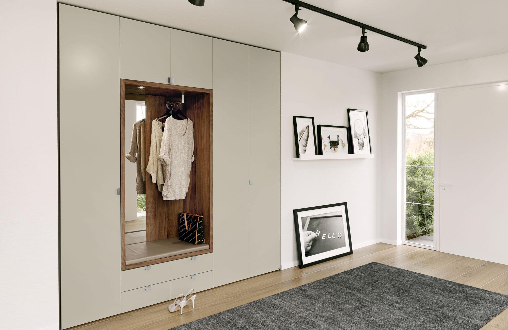 Шкаф в прихожую с зеркалом «Дальвик» серый матовый