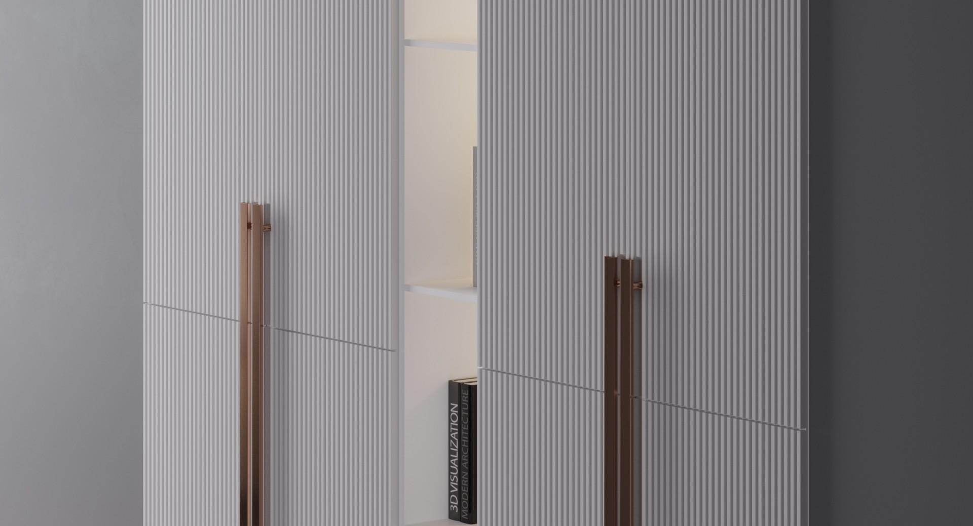 Шкаф «Валья» — рифленые фасады с вертикальными полосами
